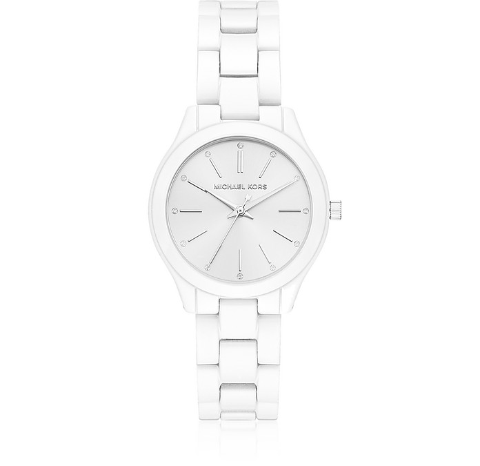 Mini Slim Runway White Coated Women's Watch - Michael Kors
