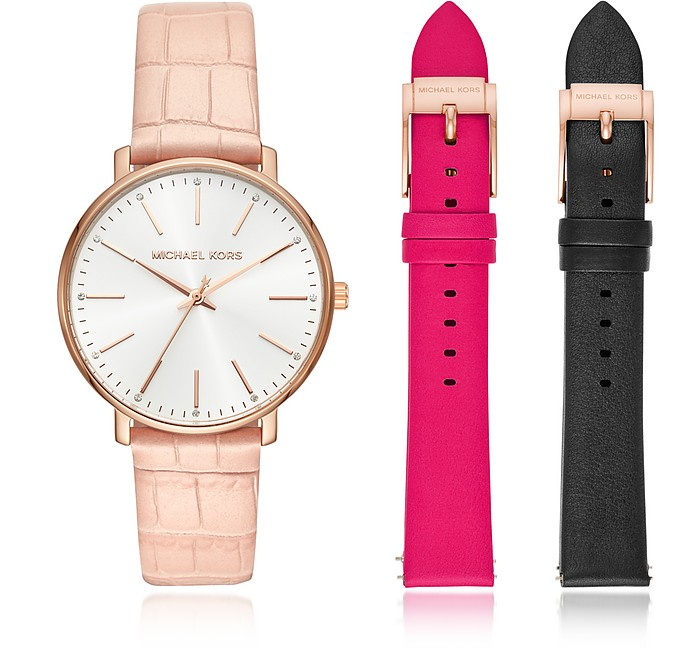 Pyper Leather Watch Set - Michael Kors