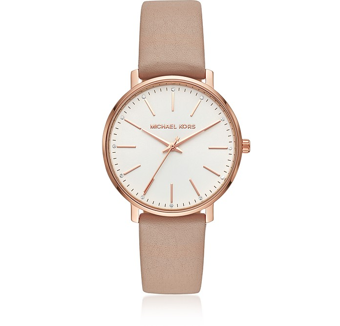 Pyper Gold Tone and Mocha Leather Watch - Michael Kors