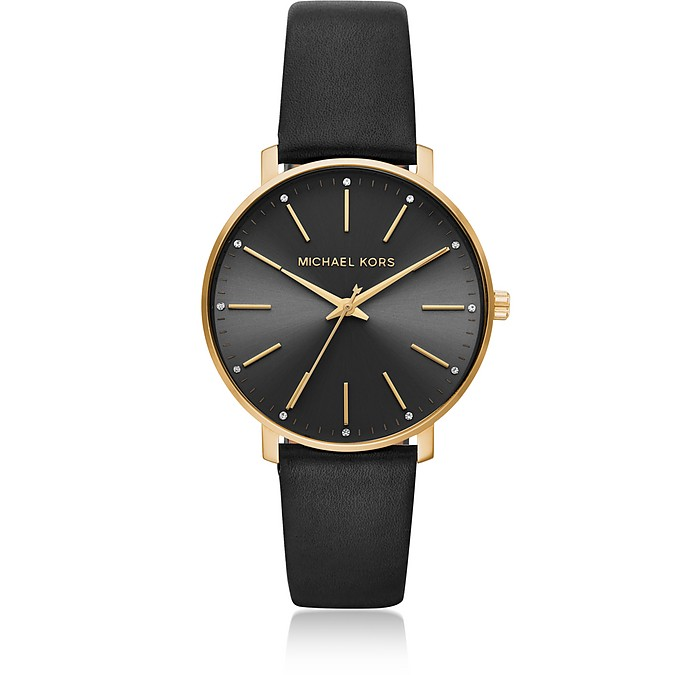 Pyper Gold Tone and Black Leather Watch - Michael Kors