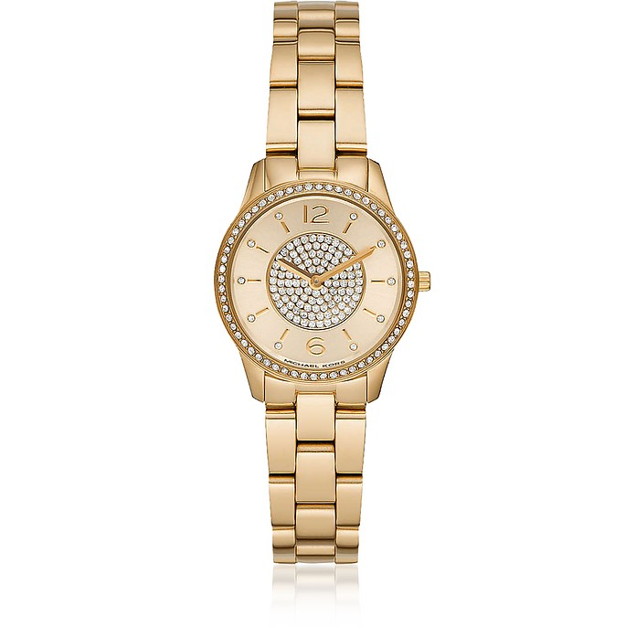 Mini Runway Pavé Gold-Tone Watch - Michael Kors