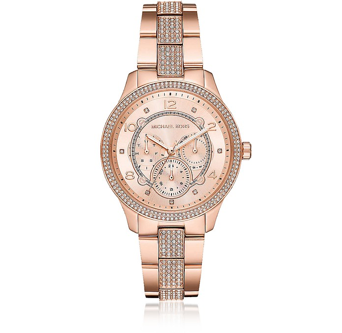 Runway Rose Gold-Tone Pavé Multi-function Watch - Michael Kors