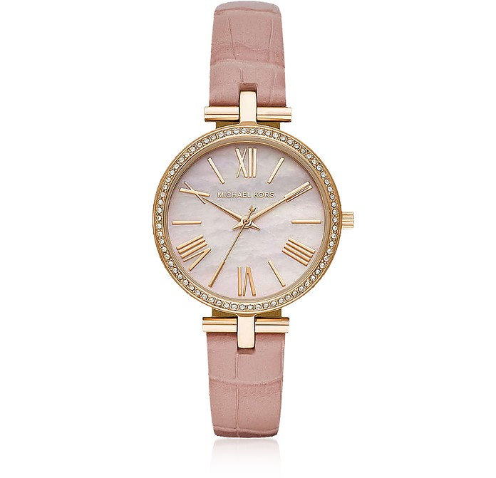 Maci Gold Tone Pink Croco Embossed Leather Watch - Michael Kors