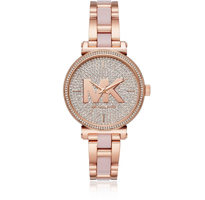 Sofie Pavé Rose Tone and Acetate Watch - Michael Kors