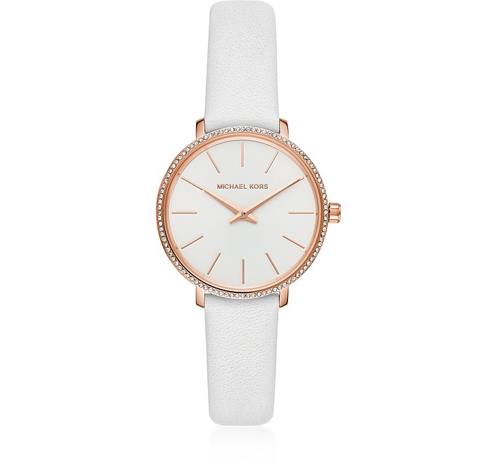 Mini Pyper Rose Gold Tone White Leather - Michael Kors