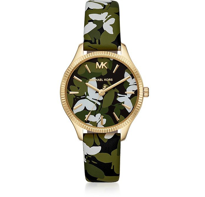 Lexington Gold-Tone Butterfly Camo Watch - Michael Kors