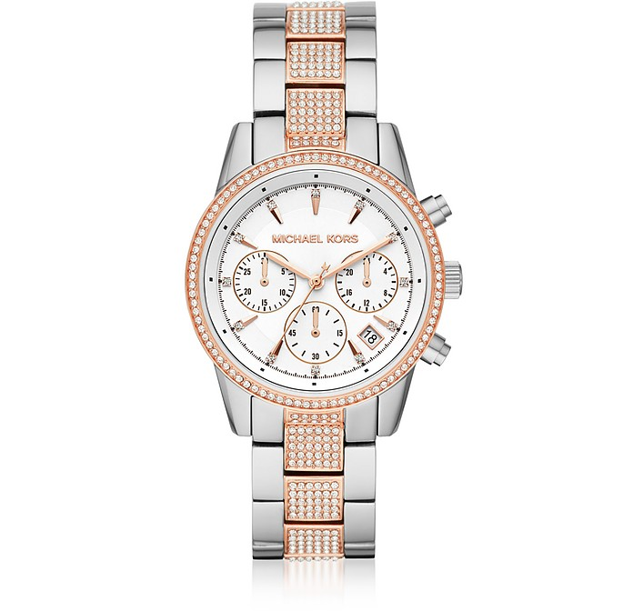 Ritz Pavé Two-Tone Chronograph Watch - Michael Kors