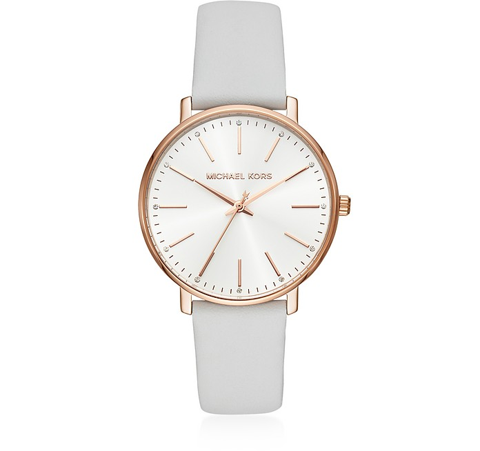 Pyper Gold Tone Gray Leather Watch - Michael Kors / マイケル コース