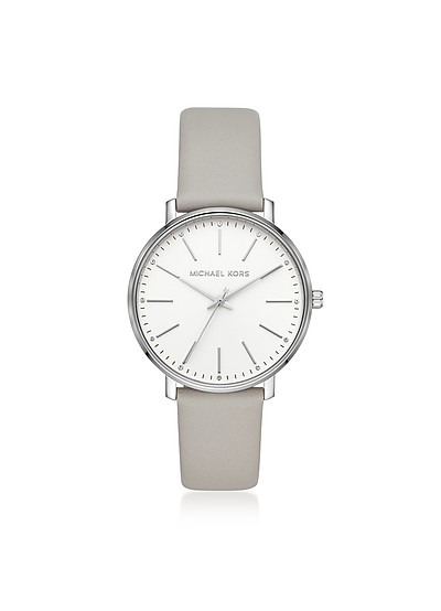 Pyper Silver Tone Gray Leather Watch - Michael Kors