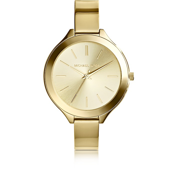 Mid-Size Golden Stainless Steel Slim Runway Three-Hand Watch - Michael Kors