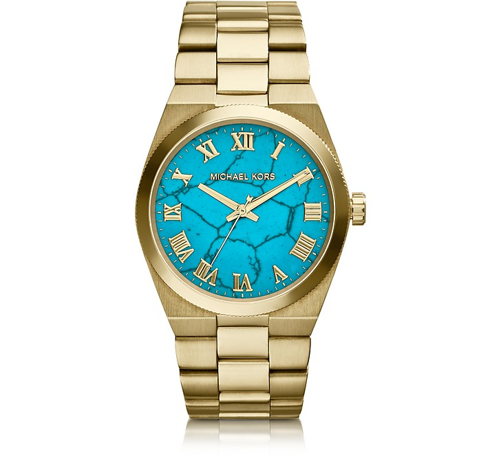 Золотистые Часы Среднего Размера с Тремя Стрелками  - Michael Kors