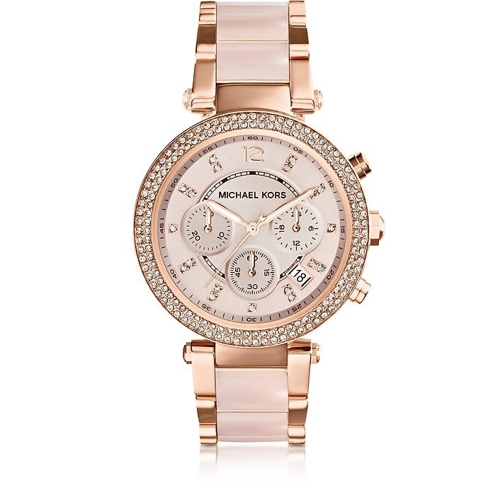 Reloj para Mujeres Parker de Acero Inoxidable y Acetato Rosado con Cristales - Michael Kors