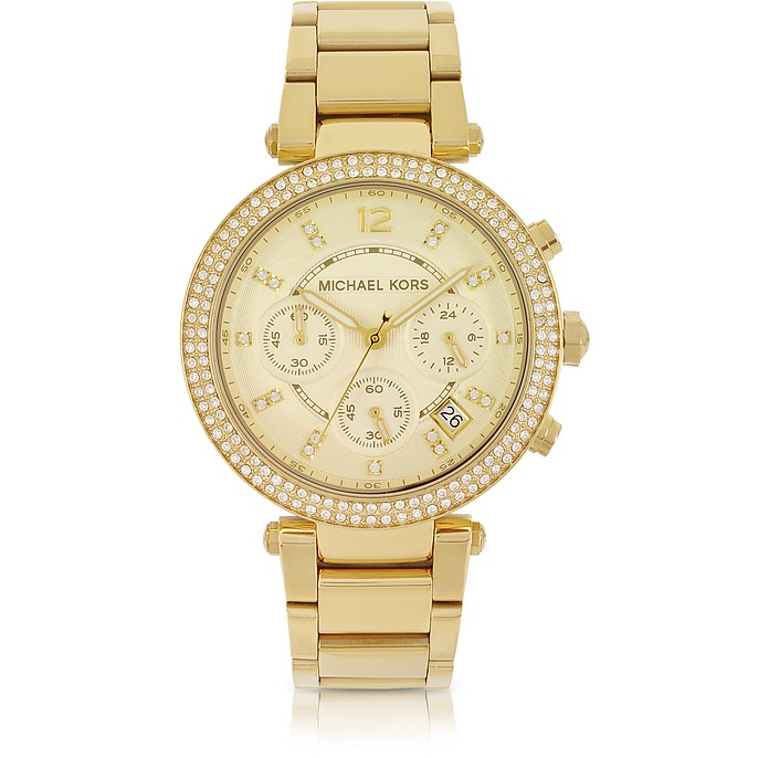 Golden Stainless Steel Parker Chronograph Glitz Damenuhr - Michael Kors