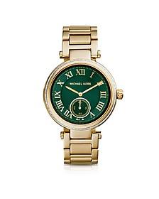 Mid-Size Golden Stainless Steel Skylar Three-Hand Glitz Watch