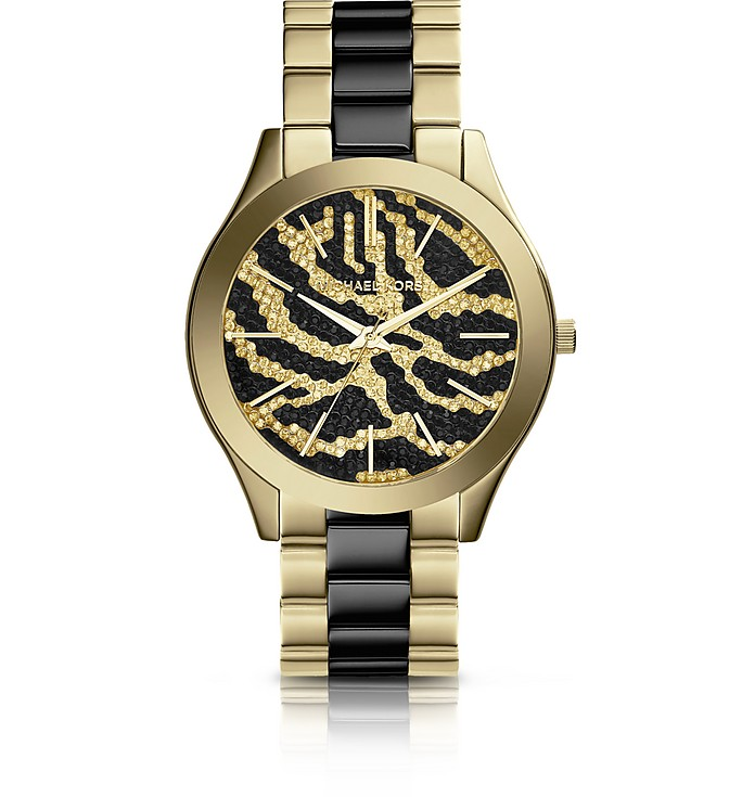 Slim Runway Black and Golden Stainless Steel Three-Hand Glitz Watch  - Michael Kors