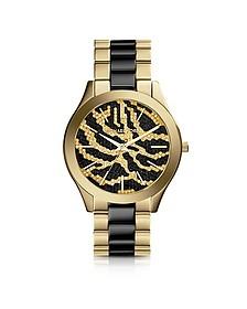 Slim Runway Black and Golden Stainless Steel Three-Hand Glitz Watch