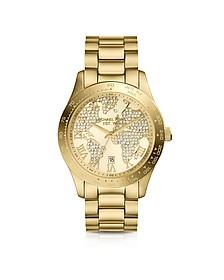 Mid-Size Golden Stainless Steel Layton Three-Hand Glitz Watch