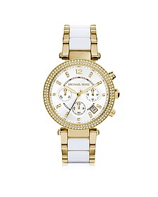 Parker Stainless Steel and White Acetate Women's Watch - Michael Kors