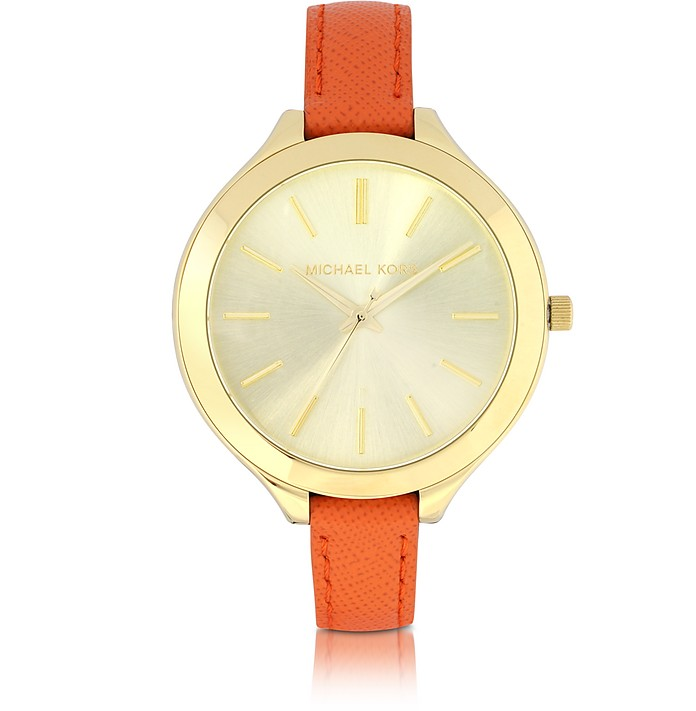Slim Runway Orange Leather Strap Women's Watch - Michael Kors