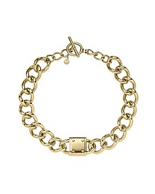 Heritage Gold Tone Logo-Plaque Curb-Chain Necklace