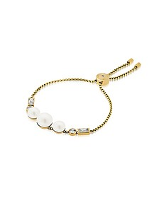 Brilliance Goldtone Bracelet w/Crystals and White Pearls - Michael Kors