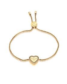 Heritage Goldtone Heart Bracelet w/Crystals - Michael Kors