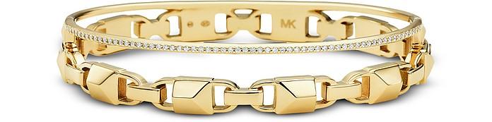 Gold Mercer Link Pavé Halo Women's Bracelet - Michael Kors