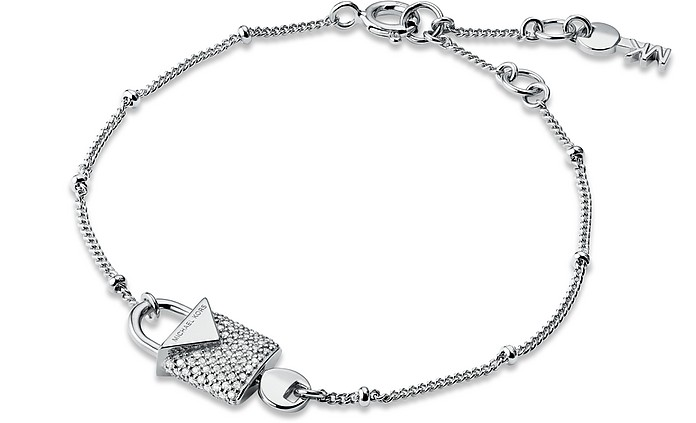 Kors Silver Pavé Lock Women's Bracelet - Michael Kors