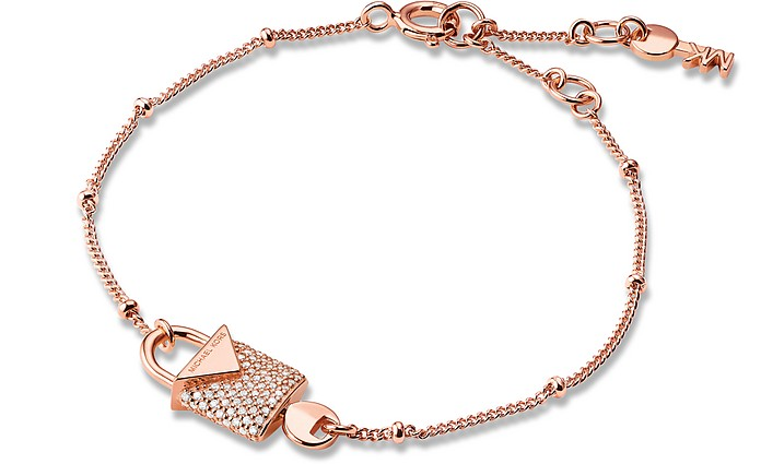 Kors Rose Gold Pavé Lock Women's Bracelet - Michael Kors