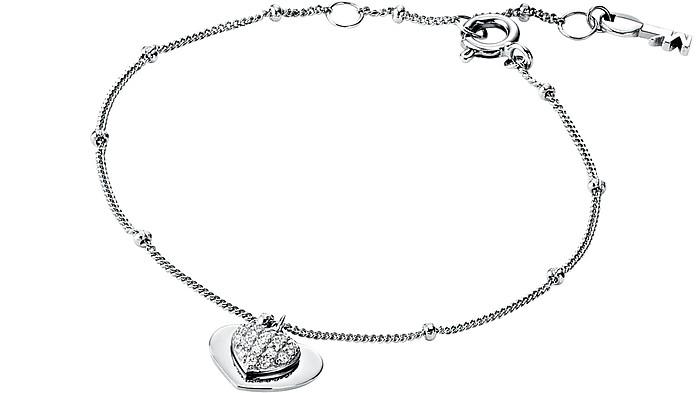 Kors Love Sterling Silver Pavé Heart Bracelet - Michael Kors