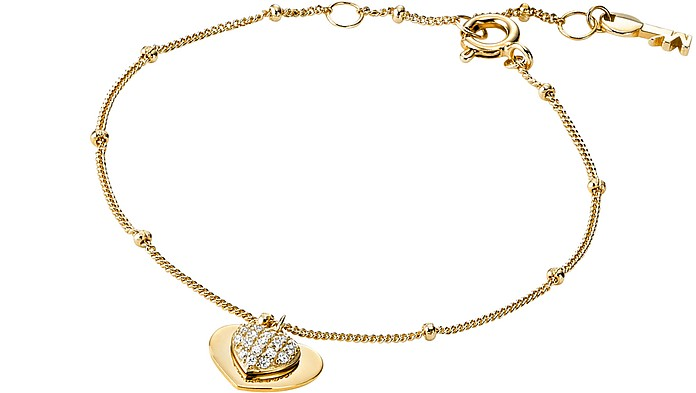 Kors Love 14K Gold Plated Sterling Silver Pavé Heart Bracelet - Michael Kors