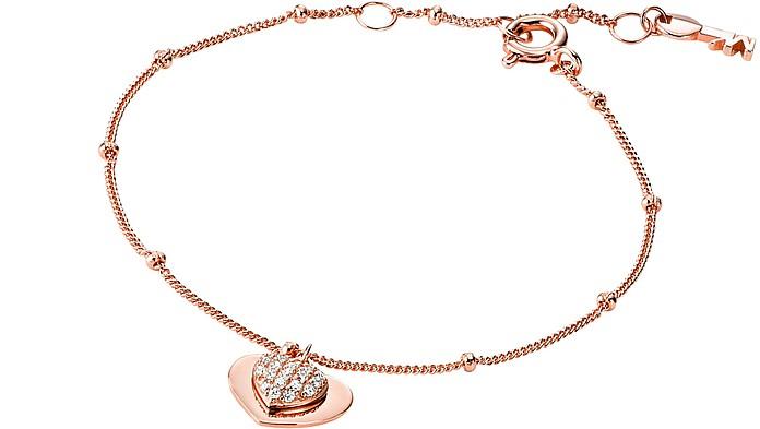 Kors Love 14K Rose Gold Plated Sterling Silver Pavé Heart Bracelet - Michael Kors
