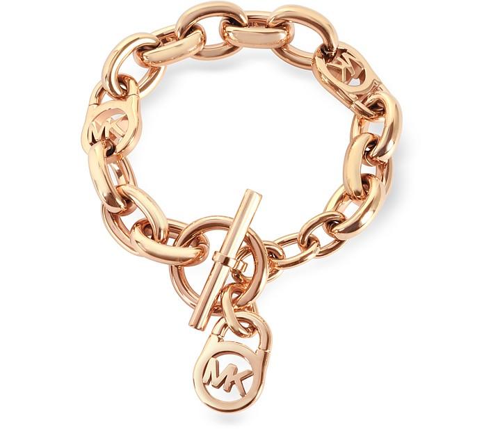 Heritage Rose Gold-tone Logo-Lock Charm Women's Bracelet - Michael Kors