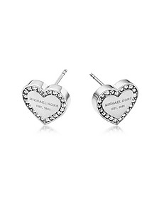 Heritage Stainless Heart Earrings w/Crystals - Michael Kors