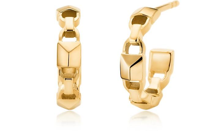 Mercer Link 14K Gold Plated Mini Hoops - Michael Kors