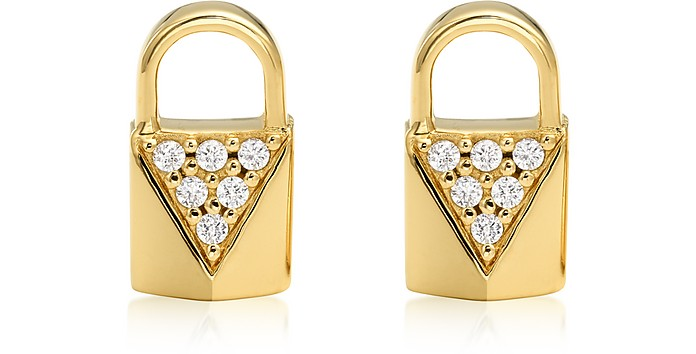 Mercer Lock 14K Gold Plated Sterling Silver Pavé Studs  - Michael Kors