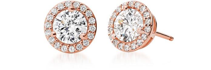 Rose Gold Plated Sterling Stud Pavé Earrings - Michael Kors