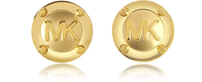 Heritage Signature Golden Stud Earrings - Michael Kors