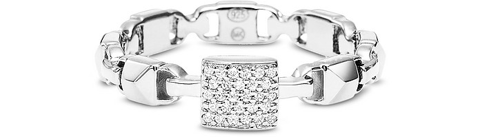 Plated Sterling Silver Mercer Link Pavé Center Ring - Michael Kors