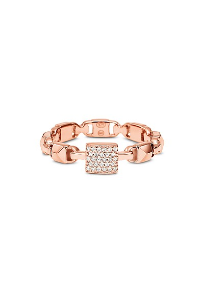 Mercer Link Anello in Argento Sterling Placcato Rose Gold con Solitario Pavé - Michael Kors
