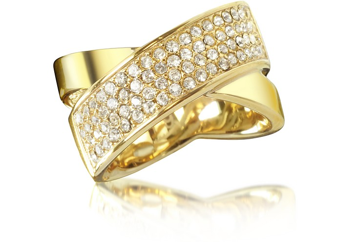 Golden Brass and Crystal Pave Women's Ring - Michael Kors