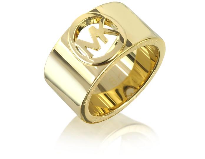 753107031 Michael Kors Golden Brass MK Logo Women's Ring USA 6 | IT 11 | UK L ...