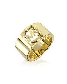 Golden Brass MK Logo Women's Ring