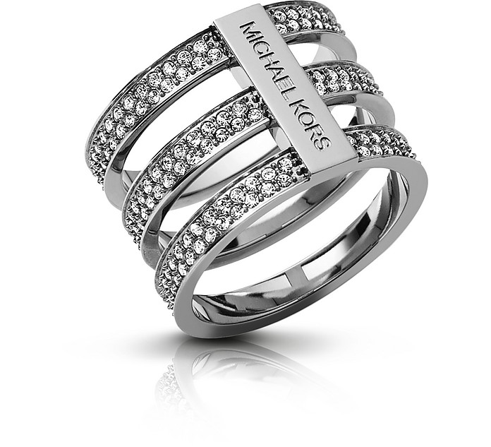 Brilliance Silver Tone Triple-Stack Pave Ring - Michael Kors