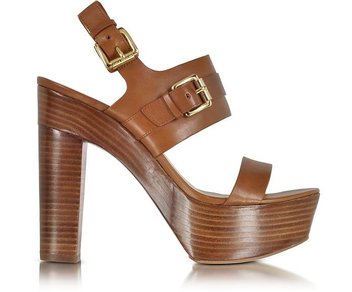Beatrice Luggage Leather Platform Sandal - Michael Kors