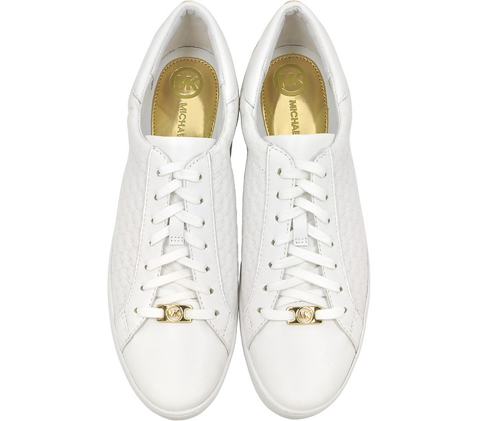 michael kors colby optic white embossed leather sneaker 10 us at forzieri. Black Bedroom Furniture Sets. Home Design Ideas