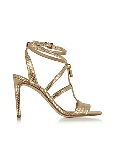 Antoinette Pale Gold Snake Printed Leather High Heel Sandals - Michael Kors