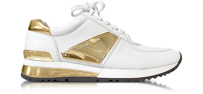 e58804090374b Michael Kors Allie White Leather and Gold Plate Wrap Sneakers 5M US ...