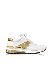 Allie White Leather and Gold Plate Wrap Sneakers - Michael Kors