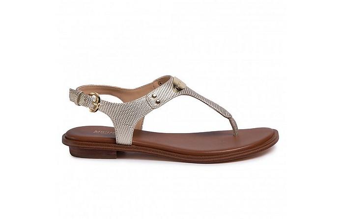 Gold Plate T-Strap Sandals - Michael Kors